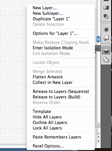 Layers Options menu